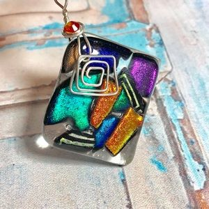 Square Dichroic Glass Pendent